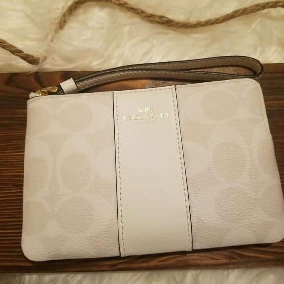 Coach Signature PVC Leather Corner Zip Wristlet